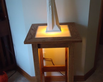 Handmade Mission Style Oak Display Table with Translucent Backlit Top