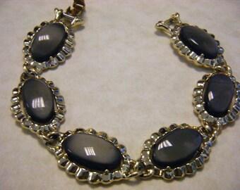 Vintage CORO THERMOSET BRACELET Grey Moonstone