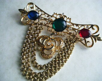 Vintage Brooch Pin Multi Colored Cabos Goldtone