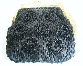 Vintage Evening Purse Black Beaded