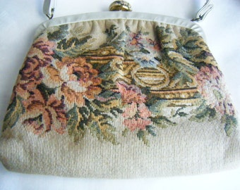 Vintage Purse Cream Floral Tapestry with Faux Leather Handle