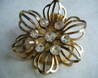 BROOCH Sweater Dress Pin  Clasp Vintage Gold tone Rhinestones