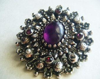 Brooch PENDANT Purple Stone Pearls Vintage