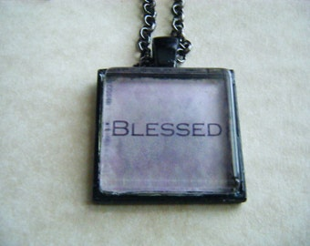 Blessed Necklace with Black 1 Inch Pendant