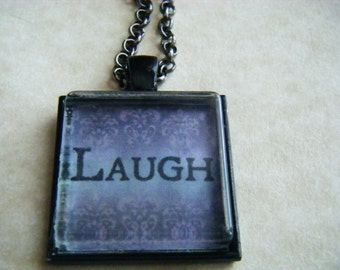 LAUGH  Necklace 1 Inch Black Pendant