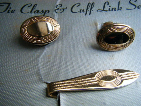 Cuff Links and Tie Set VINTAGE 50s 60s 18K Gold Plated
