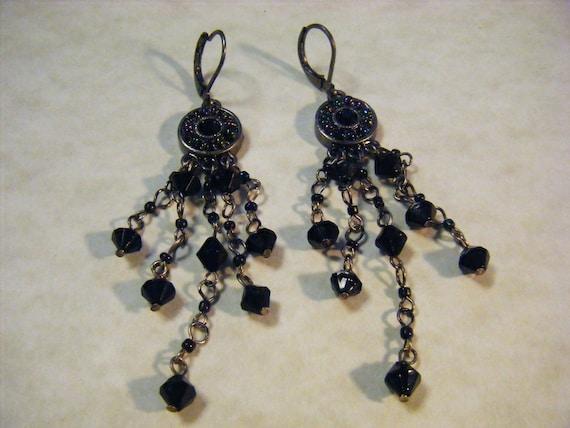 Vintage Earrings  Chandelier 90s Black Pierced Beaded
