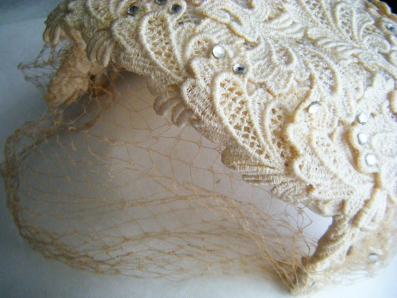 Vintage Cream Style Bridal Hat with Bird Cage Veil