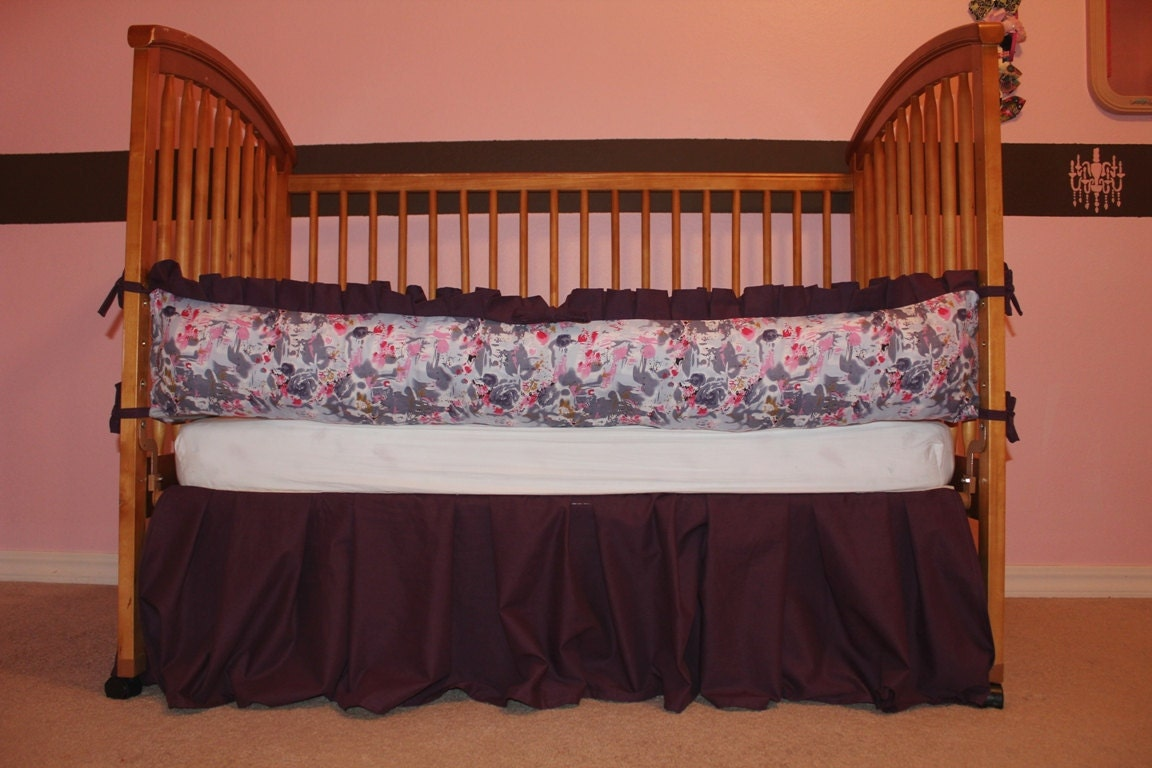 baby girl plum purple gray crib bedding set by aquabloom on etsy. Black Bedroom Furniture Sets. Home Design Ideas