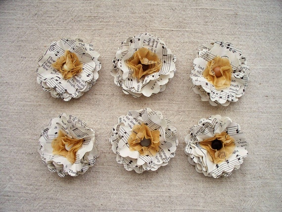 Paper Flowers die cut from upcycled hymnal  6 flowers  shabby chic  cream black