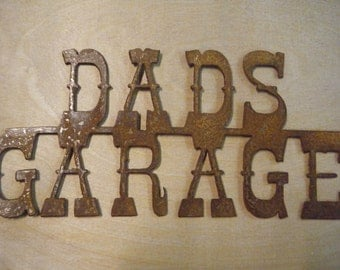 FREE SHIPPING Rusted Rustic Metal Dads Garage Sign