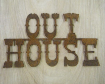 Rustic Metal Out House Sign FREE SHIPPING