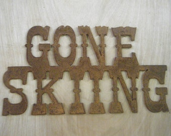 FREE SHIPPING Rusted Rustic Metal Gone SkiingSign