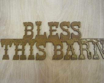 Rustic Metal Bless This Barn Sign FREE SHIPPING