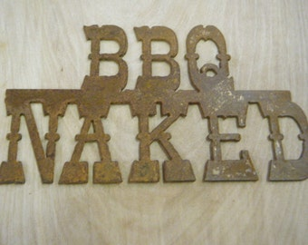 FREE SHIPPING Rusted Rustic Metal BBQ Naked Sign