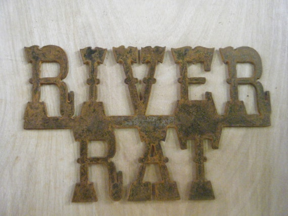 FREE SHIPPING Rusted Rustic Metal River Rat Sign