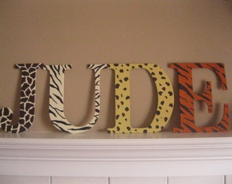 9.5 inch Handpainted Animal Print Letters