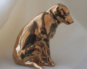 Gold Luster Lab Dog, Yellow Labrador Retriever Pet Lovers' Porcelain Ceramic Miniature