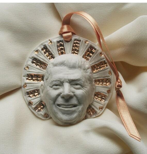 "Ronald Reagan, ""Saint Reagan"" Novelty Ornament, Porcelain, Gold Luster"
