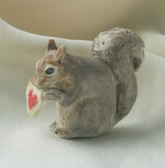 Teeny Squirrel Nibbling Heart-Shaped Cookie, Ceramic Miniature Totem