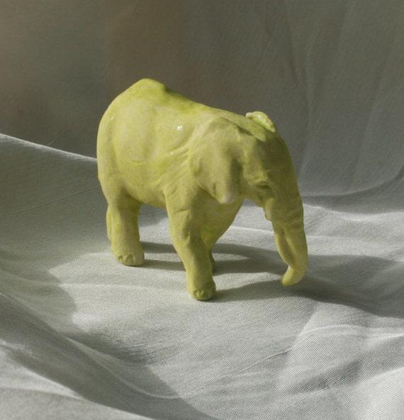 Chartreuse Elephant Miniature Porcelain Sculpture
