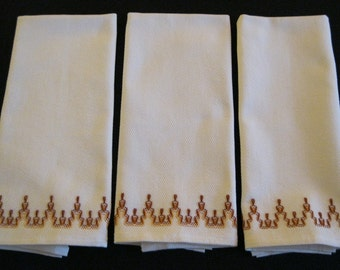 Swedish Weaving Huck Towel Set - Brown Design