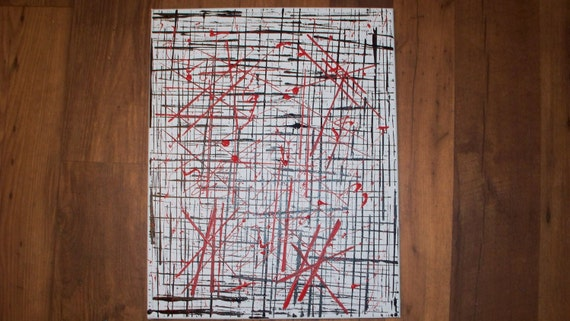 Rise of the Bloodletters 16x20 Abstract Minimalist Acrylic Drip Art on Canvas Outsider Painting