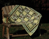 Baby Quilt Monkey Baby Boy or Baby Girl Yellow and Green Peek a Boo Monkey