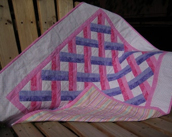 Quilt Baby Girl Pink and Purple Criss Cross Lattice Patchwork Quilt