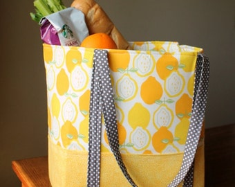 Tote Large Yellow and Gray Cotton Tote with Pockets Galore