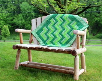 Baby Quilt Green Emerald Geometric Zig Zag Pattern for Baby Boy or Baby Girl