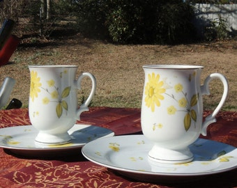 "SALE - Vintage Dinnerware Glassware Sheffield Fine China ""Sunshine"" Yellow Daisies"