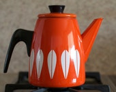 Vintage Cathrineholm Enamelware Lotus Design Coffee / Tea Pot - Red Orange