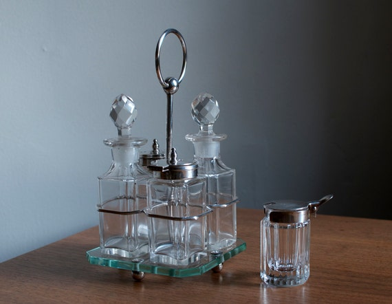 SALE...Antique Silver plated Cut Crystal Cruet Set with Silver Caddy