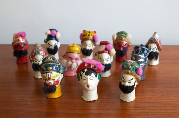 Vintage Rare Japanese Finger Opera Puppets Hand Painted Composition - Set of 12