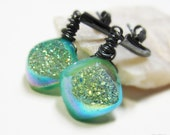 Artisan Earrings . Oxidized Sterling Silver . Celadon Green Mystic Druzy