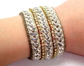 Sand Storm - Designer Friendship Bracelet with Chains, Thread & Crystals - Made To Order