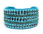 Ocean Storm - Designer Friendship Bracelet with Chains, Thread & Crystals