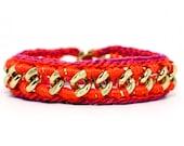 Star Struck - Designer Friendship Bracelet with Chain and Thread - Pink & Orange