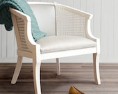 Silver Fog Garden Cane Chair - white and grey neutral whimsical side chair