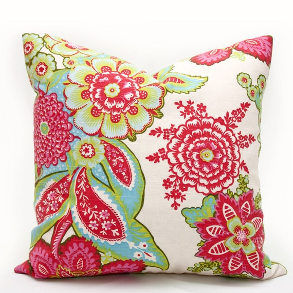 SALE - Shalani Designer Decorative Pillow Cover 17 inch - green pink festive spring young fresh vibrant unexpected floral pillow cover