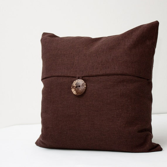 Dark Brown Linen Decorative Pillow Cover  - textured hopsack linen beach or vintage country cottage envelope pillow 18 inch