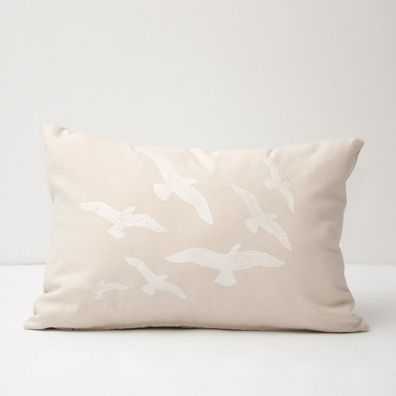 Hand Printed Flock of Birds Decorative Lumbar Pillow Cover - natural linen vintage shabby chic beach cottage throw pillow 14x20 inch