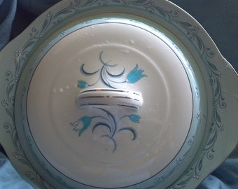Woods and Sons Baby Blue on White  Serving Dish with Matching Lid casserole  serving dish England