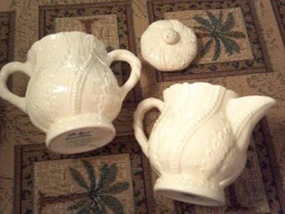 Winter White Lace Shafford Creamware White Lace design