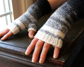 Knit Fingerless Gloves with Black to White Fading Stripes