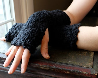 Knit Fingerless Gloves/Arm Warmers in Heavenly Soft Cotton, Black, Vegan