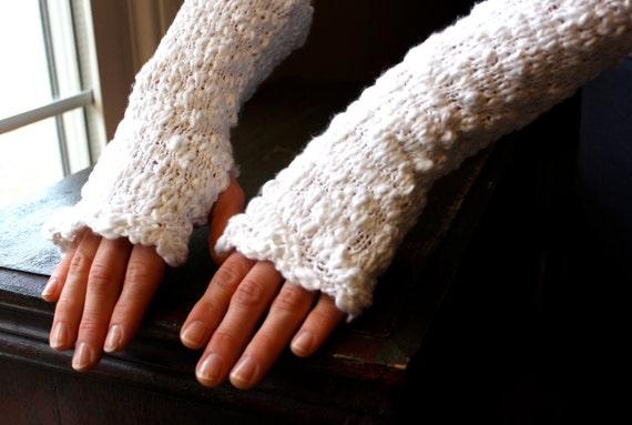 Knit Fingerless Gloves/Arm Warmers in Heavenly Cottony White, Vegan