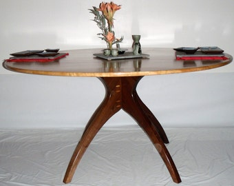 "Round Walking Table in Cherry and Walnut 60"" in diameter"