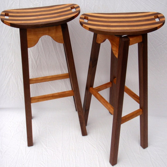 Curvy and Swervy Bar Stools with Walnut Legs